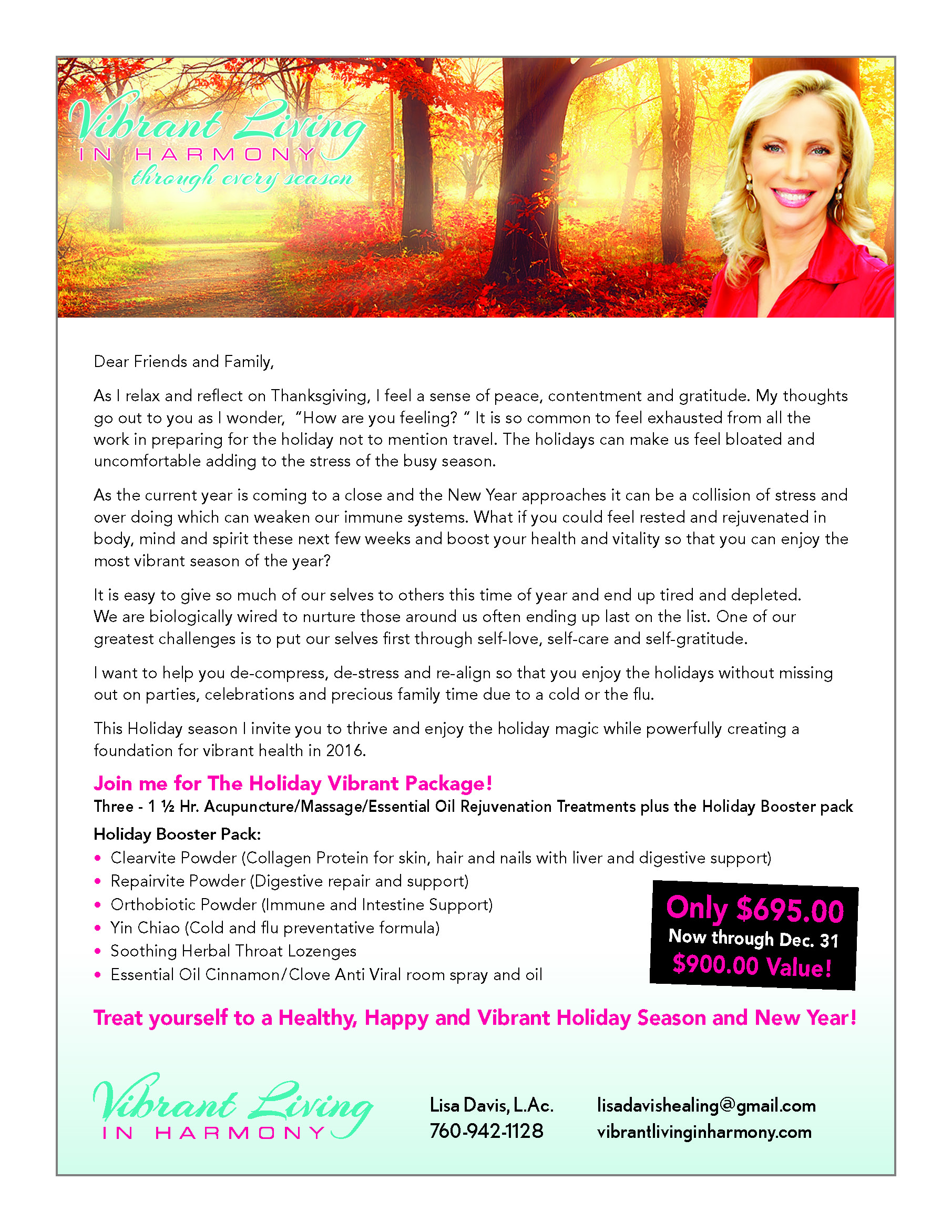 Vibrant Living Holiday Package Flyer